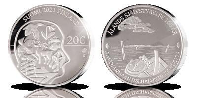 Ahvenanmaan itsehallinto 100 vuotta 20 € proof -juhlaraha 2021