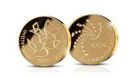 Guldmyntet med valören 100 euro är tillägnat Finlands Journalistförbunds 100:e jubileumsår